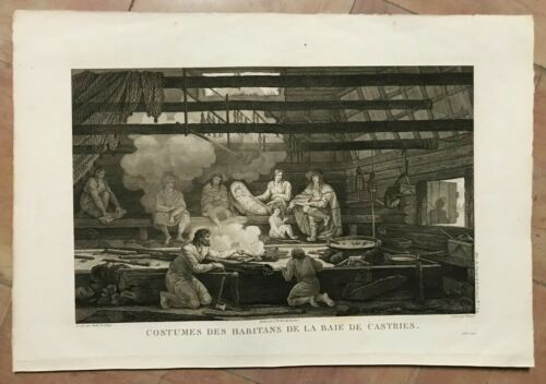 BAY OF CASTRIES TARTARY INHABITANTS 1797 LA PEROUSE LARGE ANTIQUE ENGRAVED PLATE