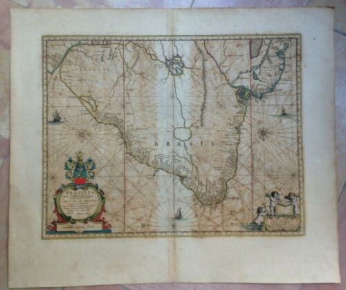 BRAZIL 1662 WILLEM BLAEU UNUSUAL LARGE NICE ANTIQUE ENGRAVED MAP 17e CENTURY
