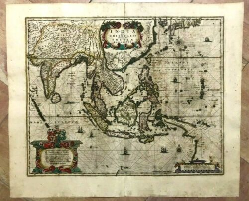 EAST INDIES c. 1640 JAN JANSSON LARGE UNUSUAL ANTIQUE ENGRAVED MAP 17TH CENTURY