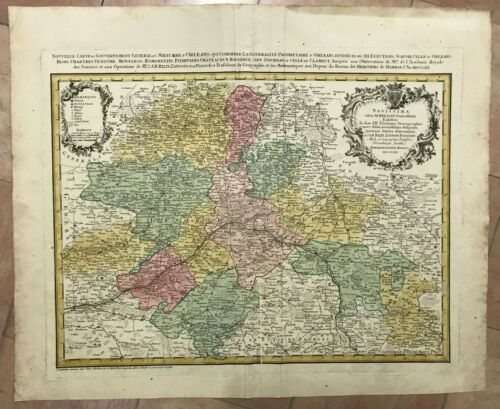 FRANCE ORLEANS DATED 1762 HOMANN HRS LARGE ANTIQUE ENGRAVED MAP 18TH CENTURY