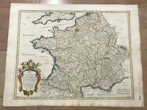 FRANCE 1676 NICOLAS SANSON LARGE NICE ANTIQUE MAP IN COLORS 17TH CENTURY
