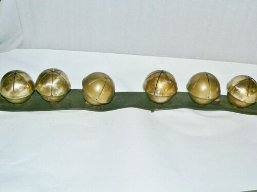 "Antique Six 6 Brass Swedish Bells 3"" Great sound Horse Sleigh Bells"