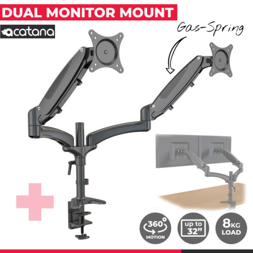 """Acatana Dual Monitor Stand Arm Desk Mount 2 Screen Holder Bracket up to 32"""" 16kg"""