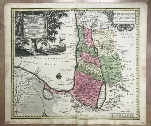 HOLY LAND by MATHEUS SEUTTER 1740 VERY UNUSUAL LARGE ANTIQUE MAP XVIIIe CENTURY