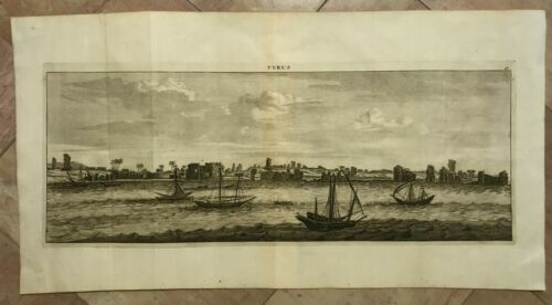 TYRE LEBANON 1698 LE BRUN LARGE ANTIQUE PANORAMIC ENGRAVED VIEW 17TH CENTURY