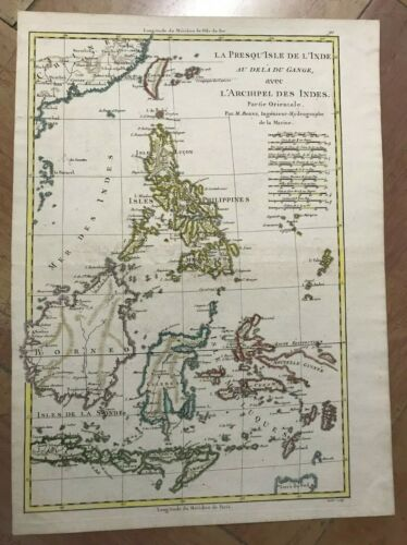PHILIPPINES INDONESIA 1780 by RIGOBERT BONNE ANTIQUE MAP IN COLORS 18TH CENTURY