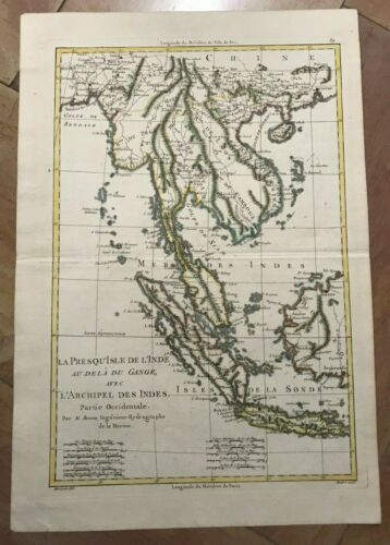 SIAM MALAYSIA SUMATRA 1780 by RIGOBERT BONNE ANTIQUE MAP IN COLORS 18TH CENTURY