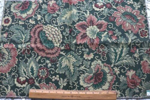 """Antique Vintage French Floral Jacquard Tapestry Sample Fabric~L-24"""" X W-16"""""""