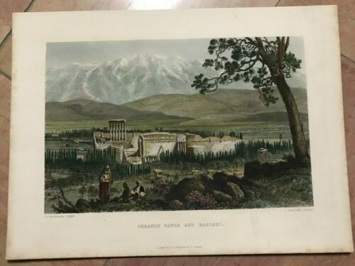 BAALBEC LEBANON 1840 WOODWARD -SADDLER 19TH CENTURY NICE ENGRAVED VIEW IN COLORS