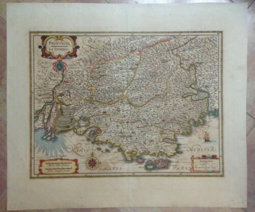 PROVENCE FRENCH RIVIERA FRANCE 1640 JAN JANSSON LARGE NICE ANTIQUE MAP 17TH C