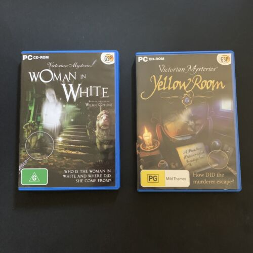 2x Hidden Object Games - Woman In White + Yellow Room - PC Windows Game