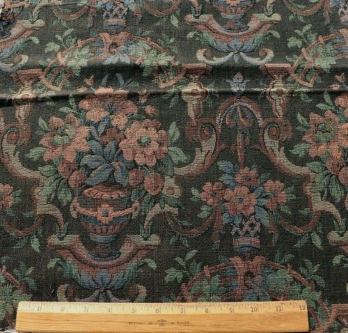 """Dark Elegant Antique French Cotton Woven Tapestry Sample Frame Fabric~24""""X18"""""""