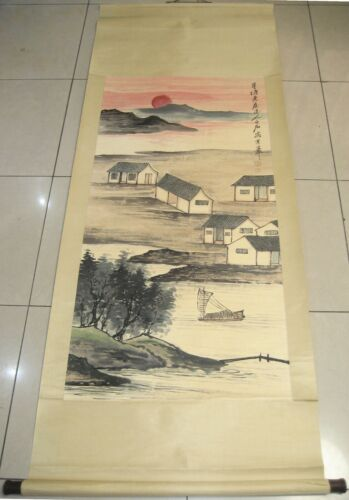 Excellent 100% Hand Painting Landscape Setting sun by QiBaishi 齐白石 落日村庄37