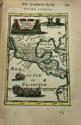MEXICO CENTRAL AMERICA 1683 ALAIN MANESSON MALLET ANTIQUE MAP IN COLORS 17TH C.