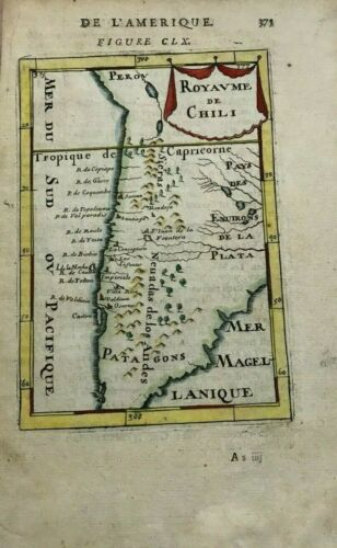 CHILE 1683 ALAIN MANESSON MALLET ANTIQUE ENGRAVED MAP IN COLORS 17TH CENTURY