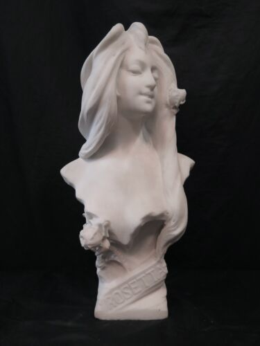 Art Nouveau White Marble Bust of a Young Woman