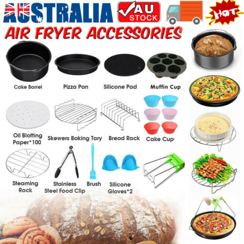 8 inch Air Fryer Frying Cage Dish Baking Pan Rack Pizza Tray Pot Accessories AU