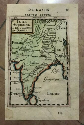 INDIA SRI LANKA 1683 ALAIN MANESSON MALLET ANTIQUE MAP IN COLORS 17TH CENTURY