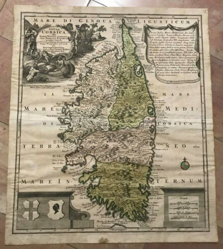 CORSICA FRANCE by MATHEUS SEUTTER 1730 UNUSUAL LARGE ANTIQUE MAP 18TH CENTURY