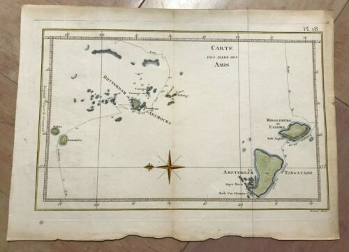 FRIENDLY ISLANDS 1778 JAMES COOK ANTIQUE ENGRAVED SEA CHART 18TH CENTURY