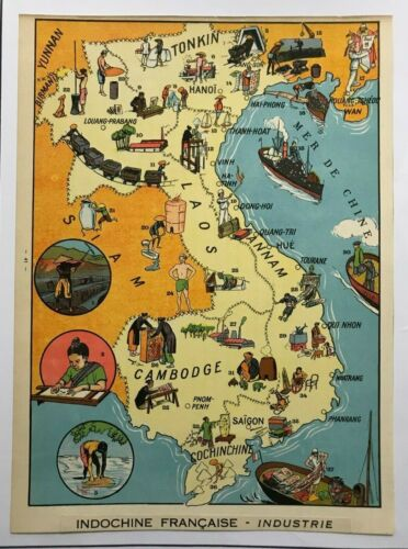 SOUTHEAST ASIA FRENCH INDOCHINE 1930 PICTORIAL MAP XXe CENTURY ORIGINAL