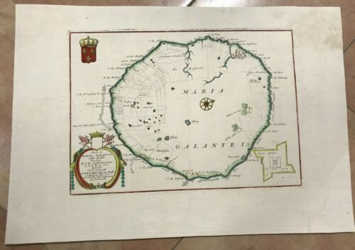 MARIE GALANTE GUADELOUPE 1692 VINCENZO CORONELLI VERY UNUSUAL LARGE ANTIQUE MAP
