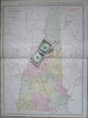 NH Lg 1912 DATED NEW HAMPSHIRE RAILROAD Map 1910s Listed Railways Nashua Concord