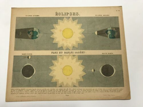 PICTORIAL MAP - ECLIPSES 1856 by KIESSLING UNUSUAL ANTIQUE MAP 19TH CENTURY