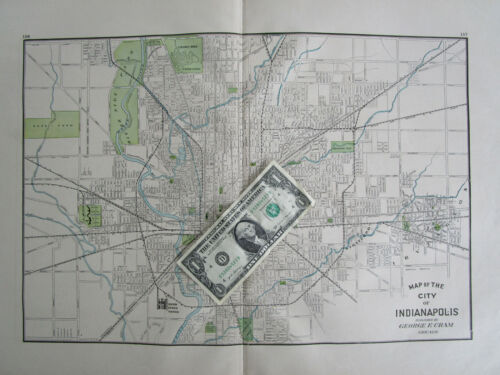 IN 1910 INDIANAPOLIS City Map. INDIANA. Geo Cram. Blue, Green Neutral Colors