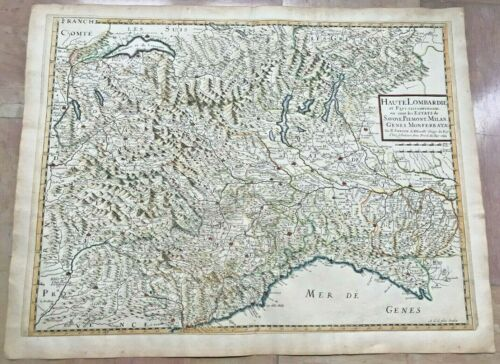 ITALY LOMBARDY PIEMONT 1648 NICOLAS SANSON LARGE ANTIQUE MAP IN COLORS