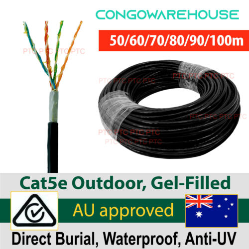 50m 60m 70m 80 100M Cat5e outdoor Ethernet cable gel filled POE CCTV Camera NBN