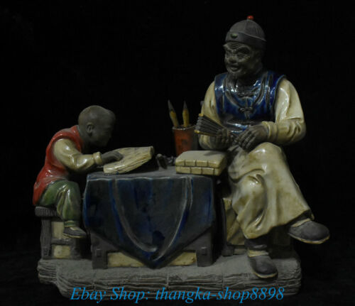 """11"""" Old Chinese Wucai Porcelain Ancient Teacher Education Student Writing Statue"""