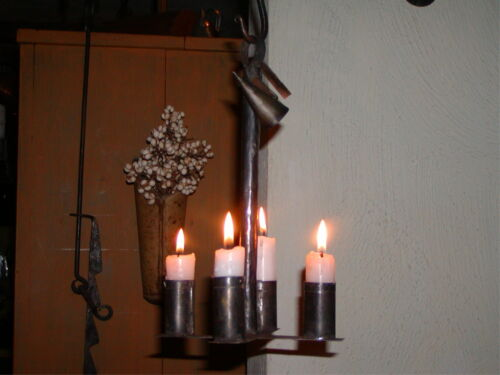 Primitive Colonial 18th ~ 19th Century Style Hanging 4 Candle Tin Hanging Light