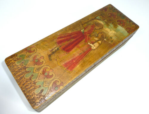 Wooden Box With Brand Painting XIX Jh Russia Casket