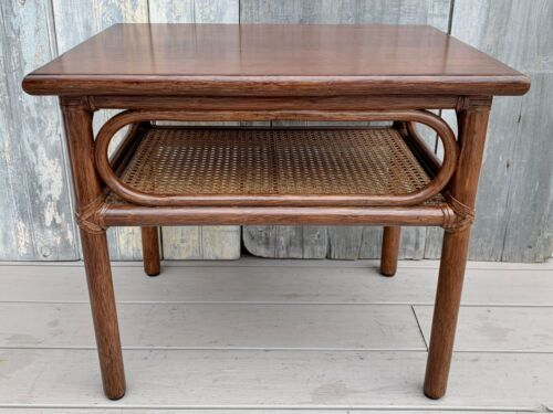 Vintage McGuire Bamboo Rattan Leather Laces 2-Tier Side Table w/ Label USA 1970