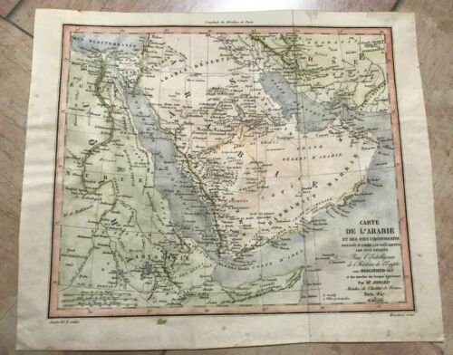 ARABIA 1847 by JOMARD ANTIQUE ENGRAVED MAP 19TH CENTURY