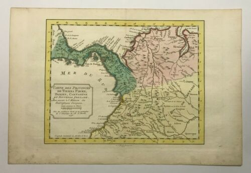 PANAMA VENEZUELA COLOMBIA 1771 NICOLAS BELLIN NICE ANTIQUE ENGRAVED MAP