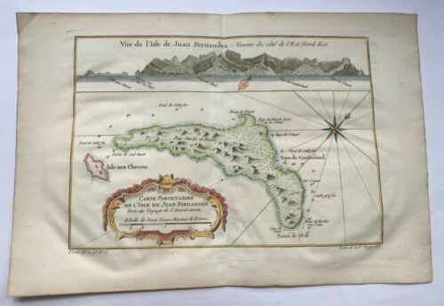 CHILE JUAN FERNANDES ISLAND 1750 NICOLAS BELLIN NICE ANTIQUE MAP 18TH CENTURY
