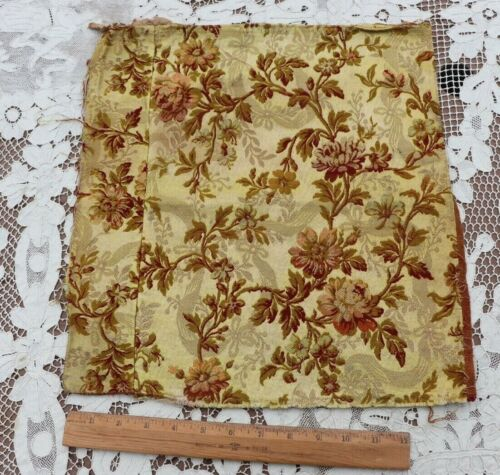 """Napoleon III French Antique Floral Tapestry Fabric c1860~15""""X 12"""""""