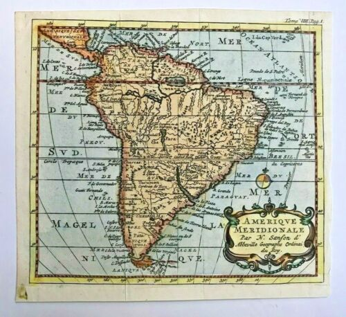 SOUTH AMERICA 1735 NICOLAS SANSON D'ABBEVILLE UNUSUAL ANTIQUE MAP IN COLORS