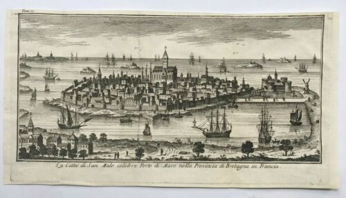 ST MALO BRITTANY (FRANCE) 1738 by SALMON ANTIQUE ENGRAVED VIEW 18TH CENTURY