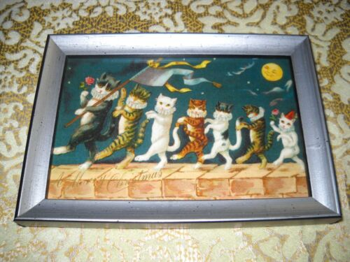 CHRISTMAS CAT PARADE ON WALL 4 X 6 silver solid WOOD framed Victorian art print