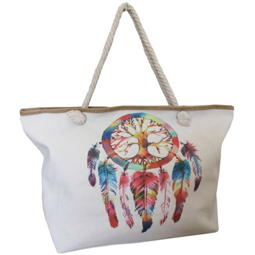 Bag With Dreamcatcher Tree of The Life Canvas Strings Feathers Pearl Playa 100