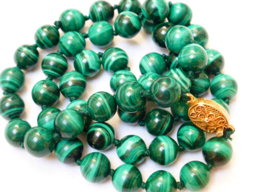 CHINESE VINTAGE MALACHITE 9mm BEADED NECKLACE, SILVER CLASP, 72grams, 22""