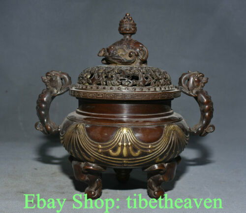 """8.6"""" Mark Old Chinese Red Copper Gilt Dynasty Palace Dragon Ear Elephant Censer"""