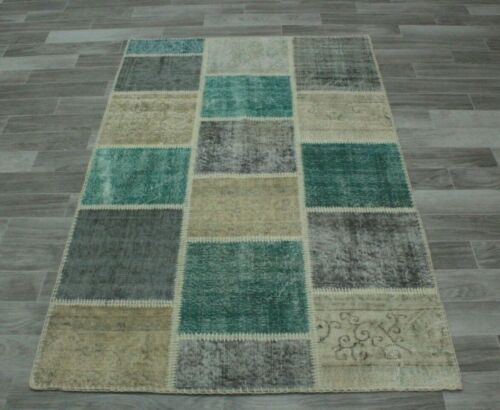 Anatolian Traditional Hand Knotted Carpet Turkish Wool Patchwork Area Rug 4x6 ft
