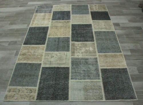 Vintage Hand Knotted Area Rug Anatolian Traditional Patchwork Wool Carpet 5x8 ft