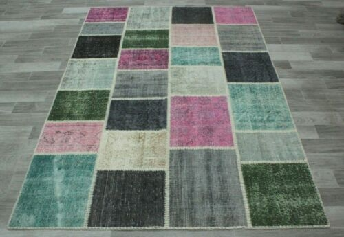 Turkish Patchwork Unique Carpet Anatolian Hand Knotted Bohemian Area Rug 5x8 ft