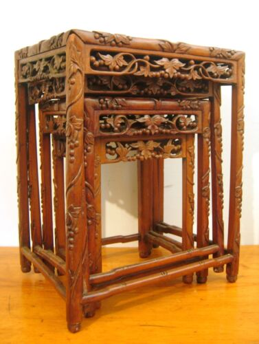 Antique Chinese Carved Tables Nest of Four Hardwood Circa 1910