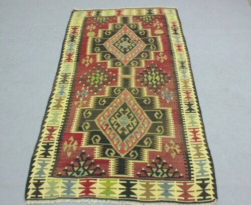 Oushak Hand Knotted Traditional Kilim Area Rug Turkish Authentic Carpet 3x6 ft